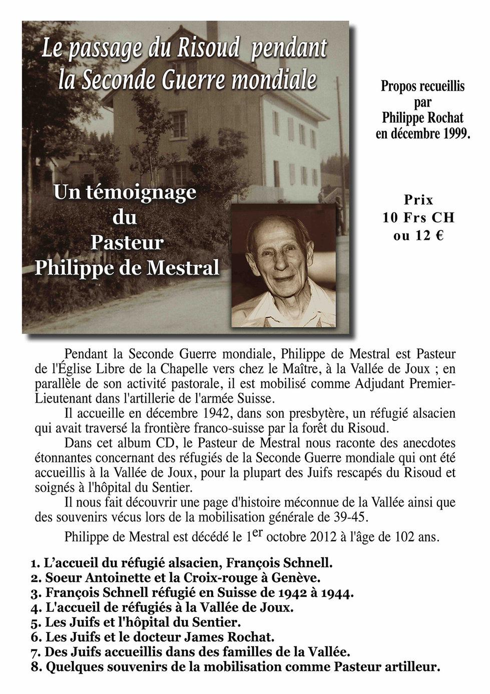 Le passage du Risoux Philippe de Mestral