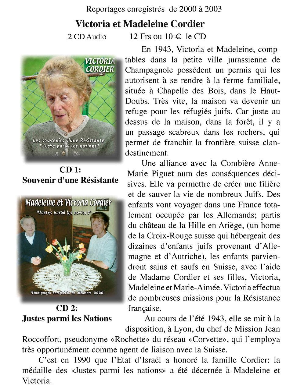 """Victoria et Madeleine Cordier des """"Justes"""""""