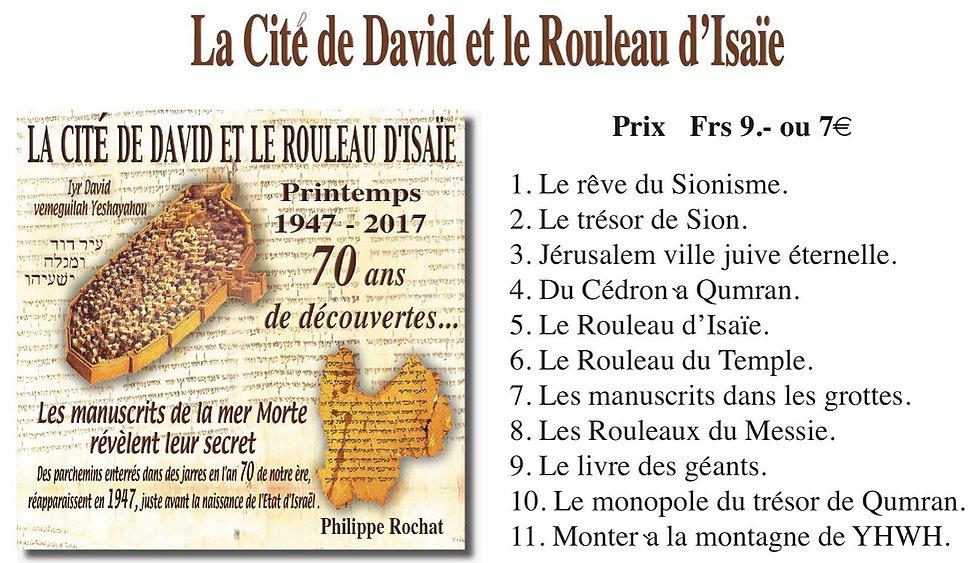 Cité de David et manuscrits mer morte