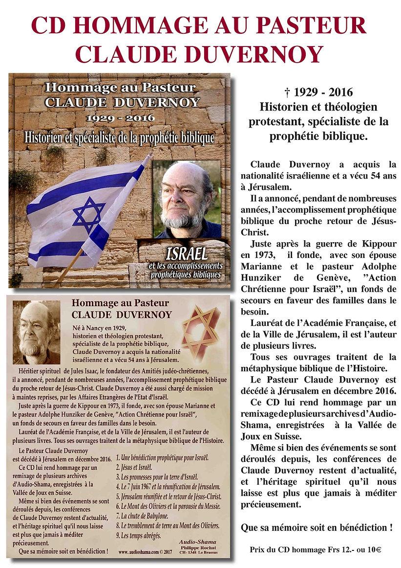 Hommage au Pasteur Claude Duvernoy