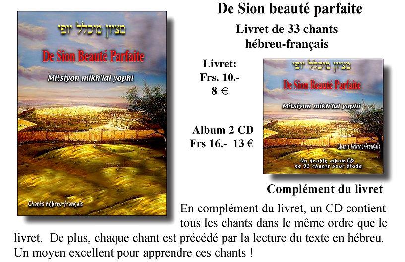 Livret et CD De Sion beauté parfaite