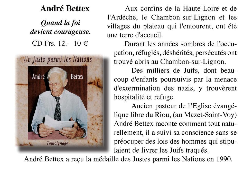 """Le Pasteur André Bettex un """"Juste"""""""