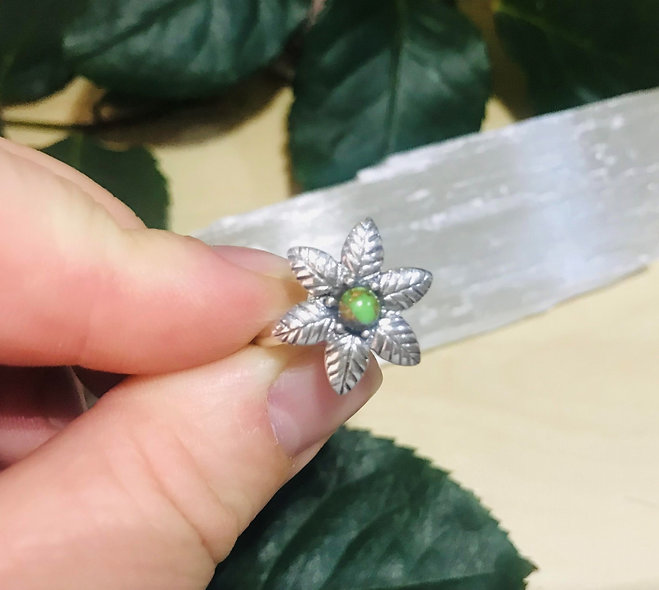Green Copper Turquoise Flower ring