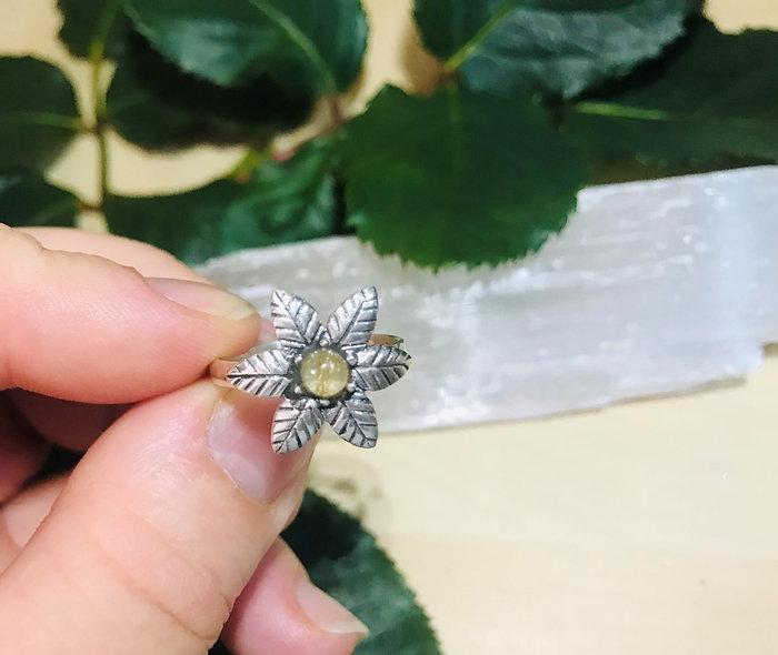Golden Rutile Flower ring