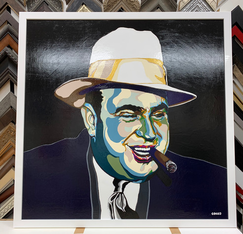 Al Capone, Flashe paint on linen canvas, 45 x 45 in, 2021.