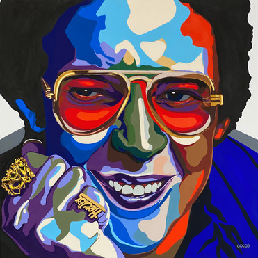 Hector Lavoe, Flashe paint on linen canvas, 45 x 45 in, 2021.