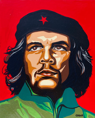 Ernesto Che Guevara, Flashe paint on wood pancel canvas, 8 x10 in, 2021.