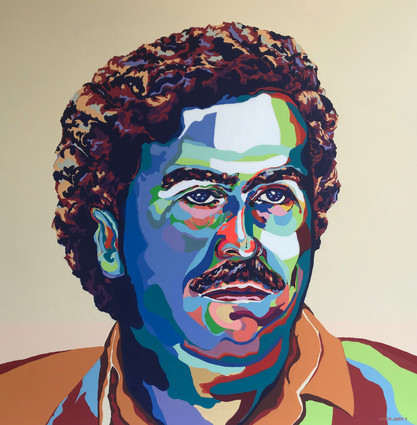 Young Pablo Escobar, Flashe paint on linen canvas, 45 x 45 in, 2020.