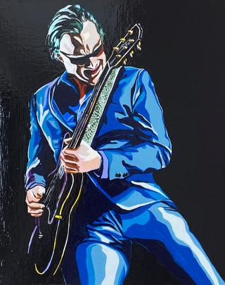 Joe Bonamassa, Flashe paint on wood pancel canvas, 8 x10 in, 2021.