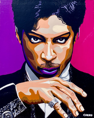 Prince, Flashe paint on wood pancel canvas, 8 x10 in, 2021.