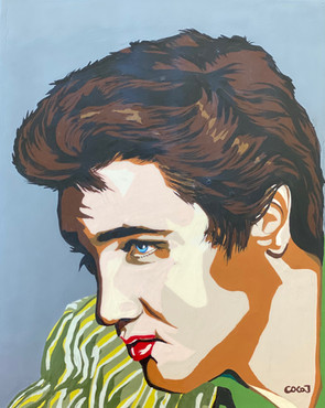 Young Elvis Presley, Flashe paint on wood pancel canvas, 8 x10 in, 2021.