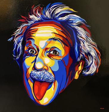 Albert Einstein, 45 by 45 in, flash paint on linen canvas, 2021.