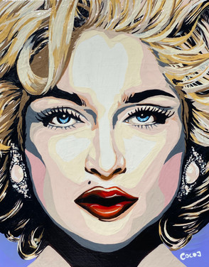 Madonna, Flashe paint on wood pancel canvas, 8 x10 in, 2021.