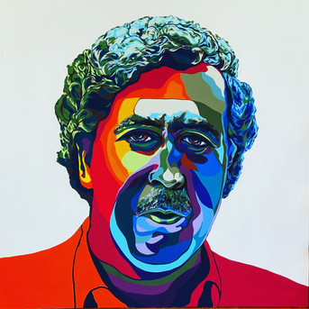 Pablo Escobar, Flashe paint on linen canvas, 45 x 45 in, 2021.