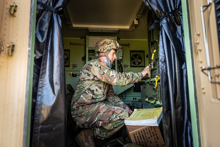 Indiana National Guardsmen, SPC Matt Ogles, assigned to the 738th Brigade Signal Company configures the radios in the Joint Node Network at Camp Atterbury, IN, during Annual Training, Sept. 18, 2020.