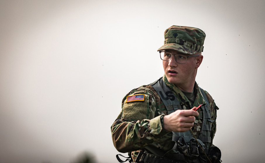 Indiana National Guardsmen, SPC Austin Coryea, assigned to the 738th Brigade Signal Company attaches guidelines to the OE-254 at the Retransmission Site at Camp Atterbury, IN, during Annual Training, Sept. 15, 2020.
