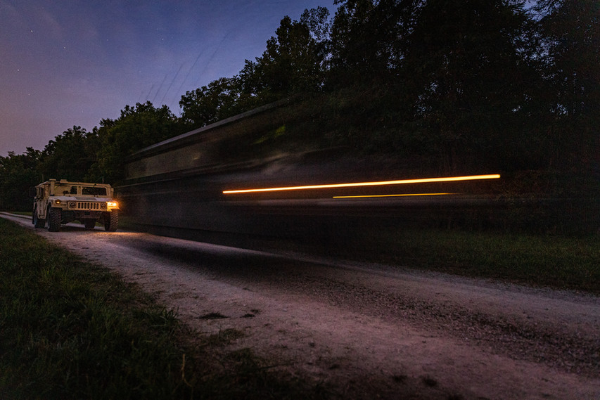 The 738th Brigade Signal Company of the Indiana National Guard conducts Day/Night Time Driving during Annual Training, Sept. 16, 2020.