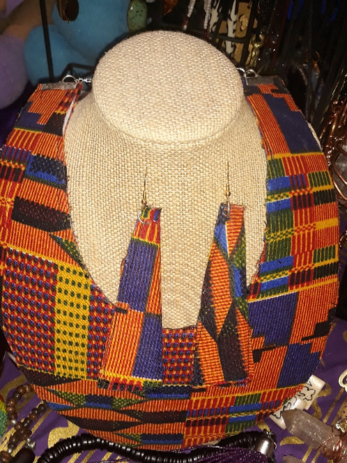 Kente Cloth Necklace and earring set