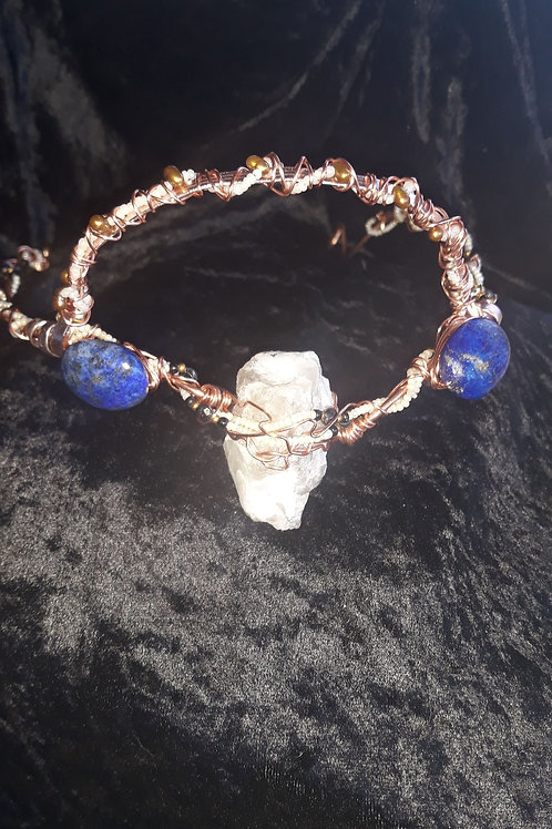 Moonstone and Lapis Lazuli Crown wrapped in Copper adjustable