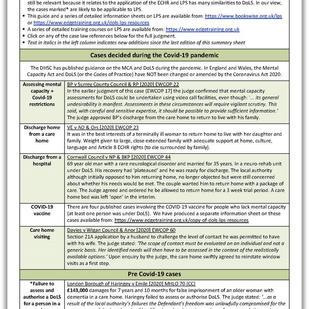 DoLS case law summary sheet July 2021