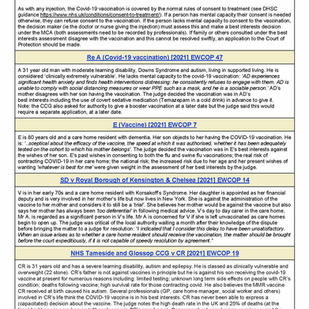 Covid 19 vaccinations case law sheet - updated August 2021