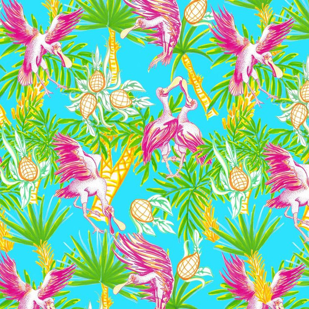 Spoonbills and Pineapple Pattern
