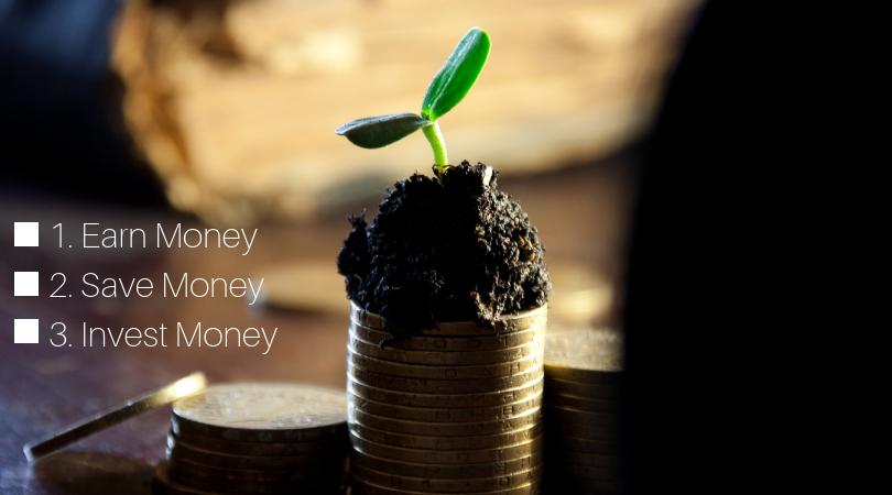 Wealth Creation: 1. Earn Money, 2. Save Money, 3. Invest Money