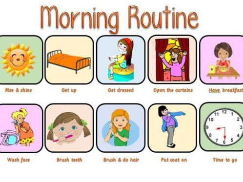 PECS Now & Next Cards Morning / Evening Routine Female