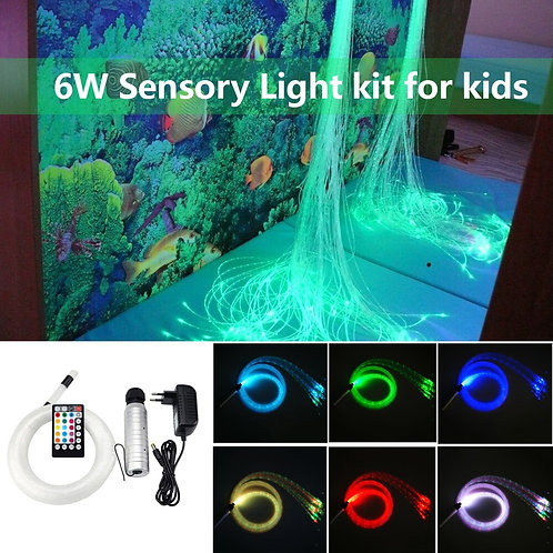 6W RGB Fiber Optic Sensory Light Kit Curtain Flash Point Waterfalll  Sensory