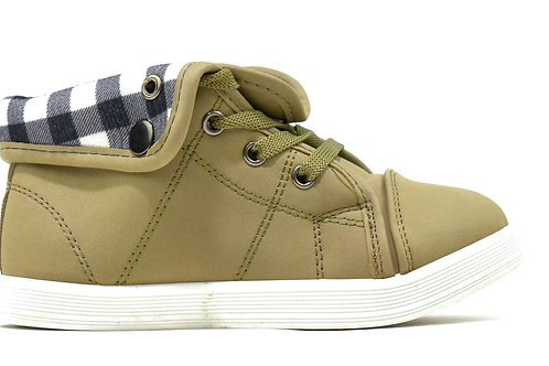 Unisex Chequered Turnover Trainers Khaki