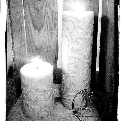 Damask Beeswax Pillar Candle (Small)