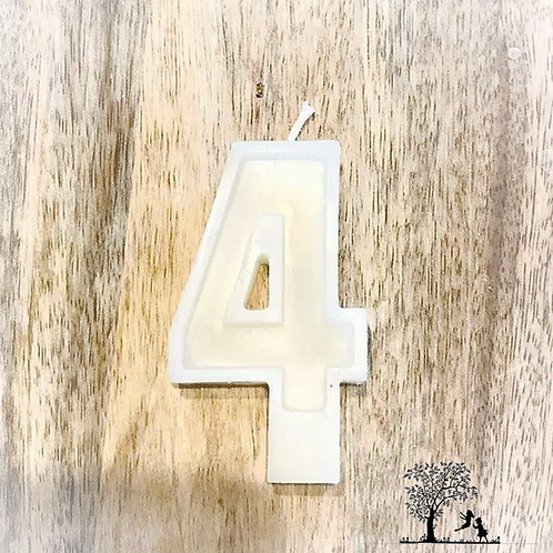 White Beeswax Birthday Number Candles - No. 4