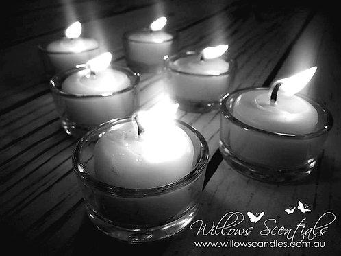 Beeswax Tealight Candles (6 Pack) & 1 x Glass Tealight Holder