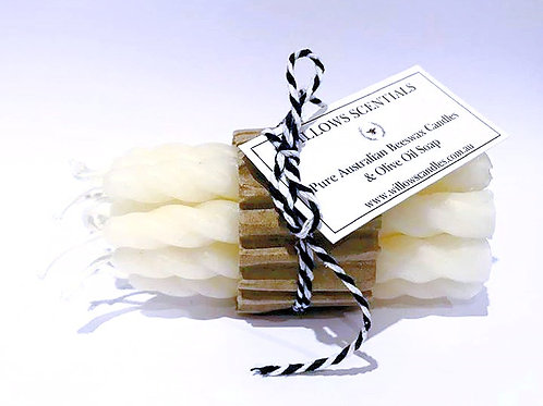 Beeswax Birthday Candles - Birthday Candles x 12 (twist design)
