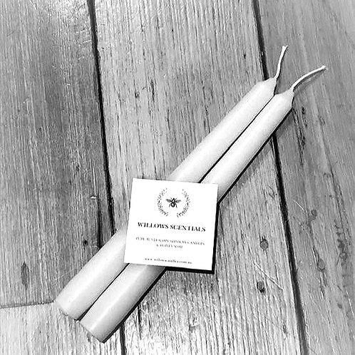 Beeswax Taper Dinner Candles x 2 (pair) 24cm