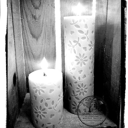 Flowers & Hearts Beeswax Pillar Candle (Small)