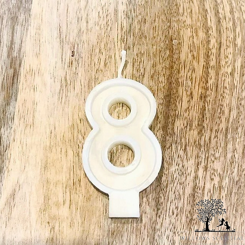 White Beeswax Birthday Number Candles - No.8