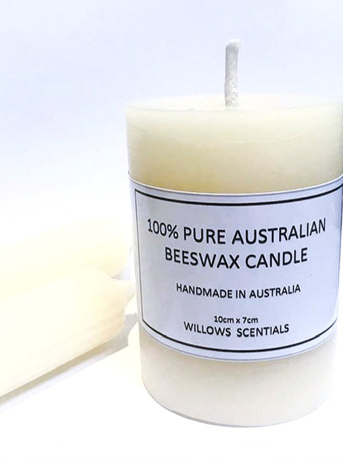 Smooth Pillar Beeswax Candle  (10cm x 7cm)