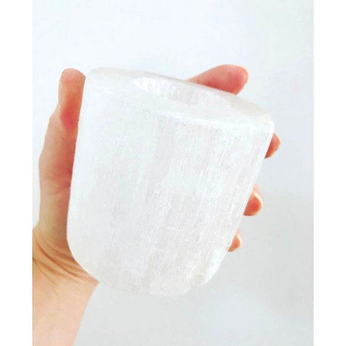 Selenite Tealight Candle Holder plus 1 free beeswax tealight