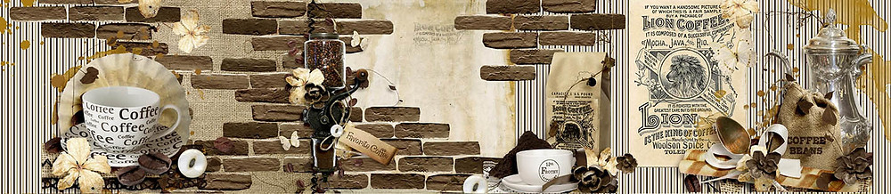 Коллаж на кофейно-кирпичную тему для скинали из стекла