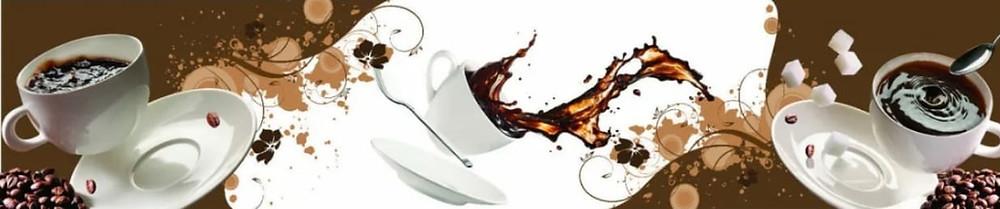 Изображение бело-коричневое на тему кофейных чашек и брызг
