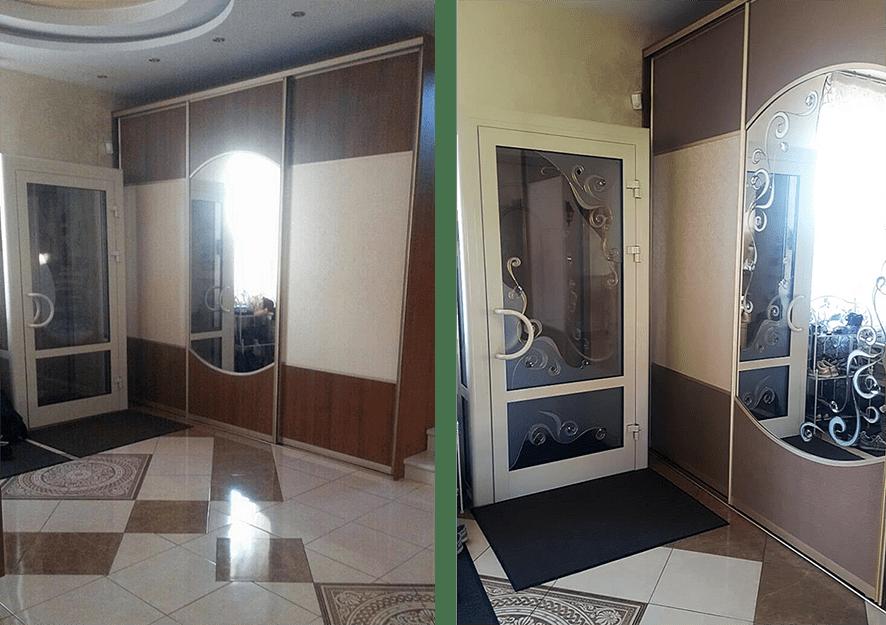 До и После декорирования интерьера. Фото интерьера с витражами на зеркалах