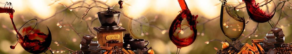 Абстрактное изображение на тему кофе, шоколада и вина