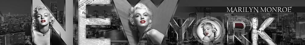 Черно-белый коллаж со знаменитостью и надписями Нью-Йорк