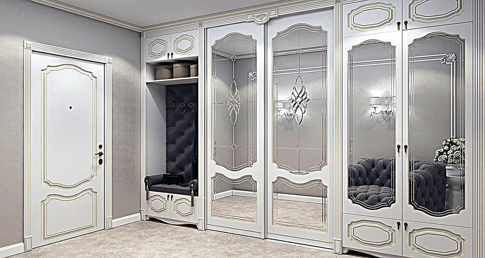 Шкаф-купе для прихожей, с витражами на зеркалах.