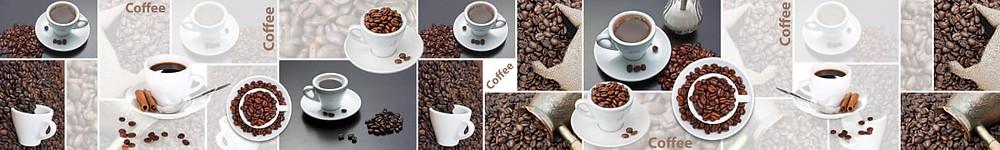 Плиточный коллаж кофейные чашки и зёрна кофе
