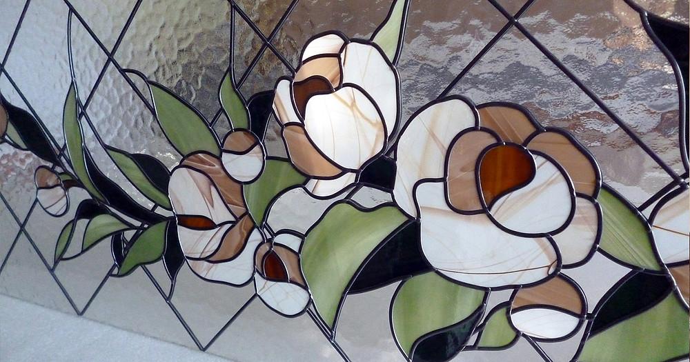 Фрагмент пленочного витража, имитация техники тиффани