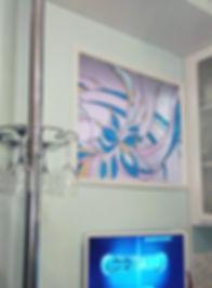 Витражное окно в проёме стены на кухне, витражи в Липецке