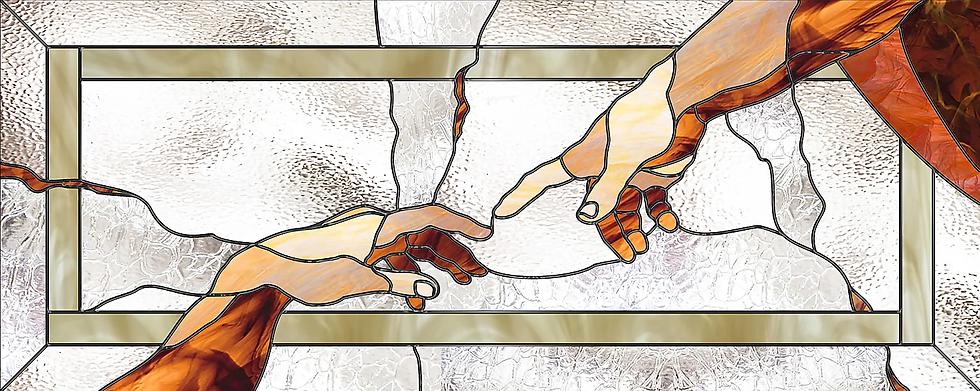 """Эскиз витражной композиции """"Рука Бога"""". Разработка Елены Швец"""