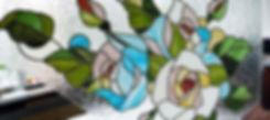 """Витраж """"Розы"""" для интерьера в стиле шебби-шик"""